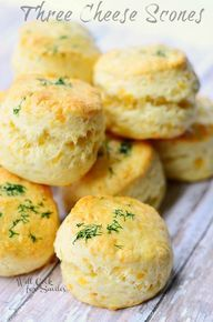 These little cheesy scones are perfect to serve any time of the day. Three cheese scones are nice and soft in the middle and full of cheesy flavors. Cheese Scones, Savory Scones, Savory Muffins, Tea Recipes, Baking Recipes, Breakfast Recipes, Scone Recipes, Biscuit Bread, Savoury Baking