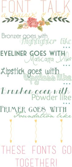 A Pairin' o' Fonts - like cheese and a fine wine ya know? ~~ Free fonts w/ links} Cute Fonts, Pretty Fonts, Fancy Fonts, Graphic Design Fonts, Web Design, Computer Font, Font Combinations, Different Fonts, Handwriting Fonts