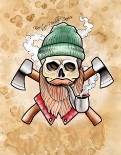 Old School Style Lumberjack Skull Tattoo Design, Watercolour paint
