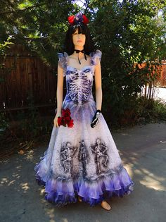 Ruffled Sugar Skull Dia de los Muertos Bride by GraveyardShift13, $199.99