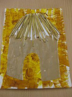 Les cases africaines - [Ecole maternelle Dolto de Marchiennes] African Hut, African Theme, African Children, Jungle Crafts, Jungle Art, Preschool Projects, Kindergarten Crafts, First Grade Art, Afrique Art