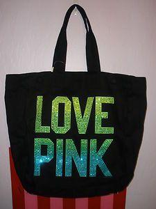 victoria secret purses and bags | Victoria's Secret Pink Yellow Green Blue Bling Tote Bag Purse | eBay