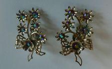 Vintage Aurora Borealis Rhinestone Silver Tone Flower Ribbon CLIP EARRING Set