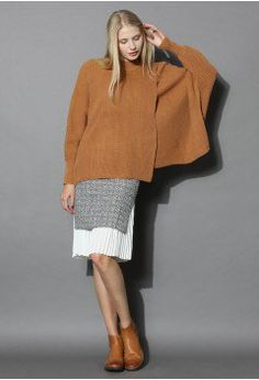 Smart Tweed Skirt with Pleated Insert - Bottoms - Retro, Indie and Unique Fashion