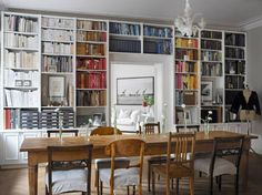 love the table and color coded bookshelves
