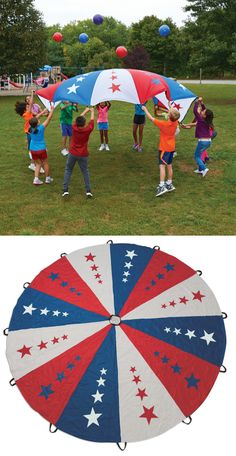 Patriotic Parachute featuring red, white and blue panels and 50 stars representing the 50 states