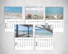 Printable Calendar 2017 Beach Photography Instant Download Calendar 5x7 Sea Photo Cottage Blue decor Digital Photo set of 12 Photo Gallery by LightBluePhotography on Etsy
