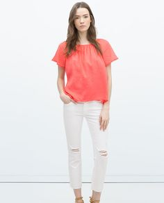BLOUSE WITH RUFFLE SLEEVES-View all-Tops-WOMAN | ZARA United Kingdom