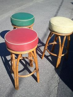 Rare Set Of Three Heywood Wakefield Vintage Rattan Barstools -tiki Hawaiiana