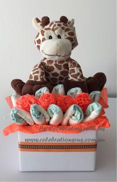 Giraffe flower box Nappycake, part of novelty nappycake range