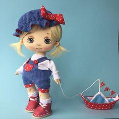 Fabric Dolls, Rag Dolls, Cute Cartoon Girl, Textiles, Christmas Ornaments, Holiday Decor, Russia, Handmade, Eye