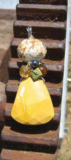 Mustard Yellow Rose Cut Natural Stone Pendant by WienerHausDesigns, $25.00