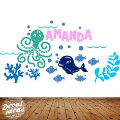 This is a beautiful sea life wall decals will look awesome in a kids playroom or nursery wall . The bright colors brings in vibrance and life to any room filling it up with joy .You will love how cute sea creatures in this wall decal will open up the door to an under the sea adventure for the kids. Choose from image 1 OR 2 OR leave your color choice when you check out.  ♥ 1 x 30inch X 16inch wall decal more sizes available .  ♥ Colors of choice ,5 colored vinyl wall decal sticker. Please…