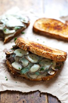 Simple Garlic Butter Mushroom & Provolone Melts | pinchofyum.com