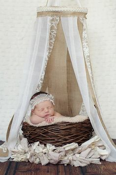Newborn Canopy - Burlap and Lace Newborn Canopy, Hanging Fabric Canopy Prop. $40.00, via Etsy.