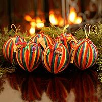 Cotton ornaments, 'Peace Wish' (set of 6)