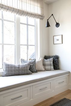 This space featured on Home Bunch showcases Emtek's Warwick cabinet pulls. Window Seat Storage, Window Seats, Bay Window, Family Room, Home And Family, Home Inc, Building A New Home, Home Decor Inspiration, Design Inspiration