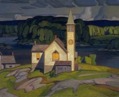 A.J. Casson (Canadian, 1898-1992), Anglican Church at Magnetawan, 1933. Oil on canvas, 94.2 x 115 cm.