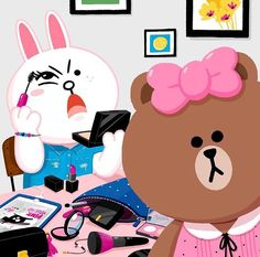 Choco and Cony Lines Wallpaper, Emoji Wallpaper, Line Cony, Bear Gif, Cony Brown, Line Game, Bear Images, Bunny And Bear, Friends Wallpaper