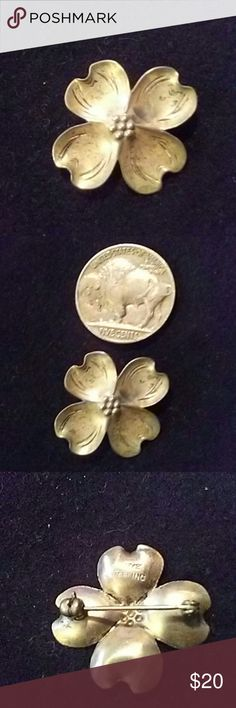 4 Leaf Clover Sterling lapel pin Super petite Sterling four leaf clover lapel pin stamp Sterling and signed can also be worn on a hat or riding vest NYE Jewelry Brooches