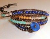 Wrap bracelet 4 tours : cuir, argent filigrané, jaspes paysage, lapis lazuli, jade aqua bleues.