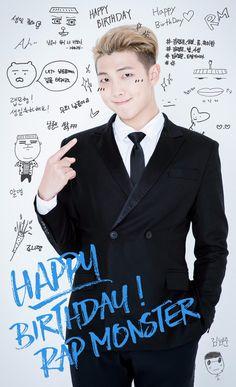(1) BTS_official (@bts_bighit) | Twitter  [#모니생일ㅊㅋ] 방탄소년단 리더 랩몬스터의 생일을 축하합니다! @bts_twt #BTSRMday2016