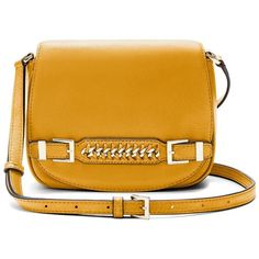 DVF Iggy Leather Saddle Bag ($298) ❤ liked on Polyvore featuring bags, handbags, shoulder bags, honey mustard, travel shoulder bags, travel purse, yellow leather purse, leather cross body handbags and leather crossbody purses
