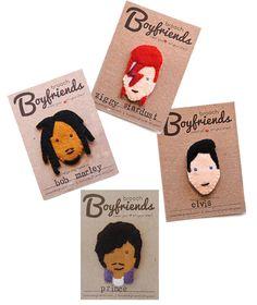 Bob Marley, Ziggy Stardust, Prince, Elvis, brooch