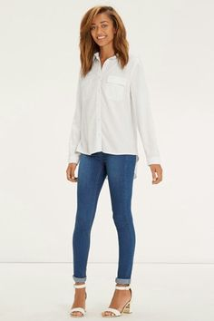 With utility styling, a relaxed fit and rolled sleeves – it's the perfect boyfriend shirt that means you can leave his well alone. Perfect Boyfriend, Boyfriend Shirt, Fashion Today, Fashion Online, Oasis, Better Alone, Dark Blue Skinny Jeans, Street Style, Clothes For Women