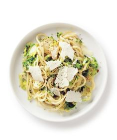 Thinly slicing the Brussels sprouts allows them to cook quickly to crisp-tender perfection. Get the recipe for Creamy Brussels Sprouts Spaghetti.