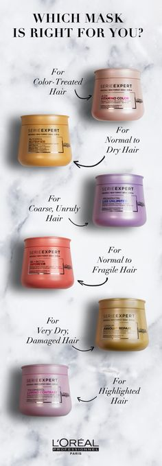 Hair masks for color-treated hair, normal to dry hair, coarse hair,  fragile hair, damaged hair, and highlighted hair.