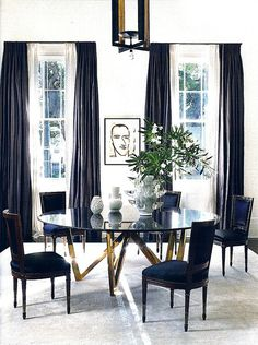 dining room - black and white. drapes - drama