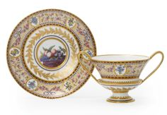 A SEVRES TWO-HANDLED CUP AND SAUCER CIRCA 1794