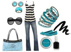 Thirty One Gifts has the perfect purse to go with this style--the Skirt Purse in Aqua Paisley.