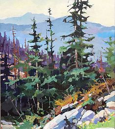 Canadian painter Randy Hayashi is a featured artist at the mountain galleries at the fairmont. Beautiful Landscape Paintings, Watercolor Art Landscape, Abstract Landscape, Canadian Painters, Canadian Art, Art Basics, Unique Drawings, Forest Painting, Gouache Painting