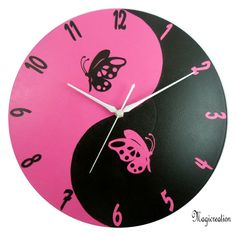 HORLOGE PAPILLON YIN ET YANG - NOIR ET ROSE - Boutique www.magicreation.fr