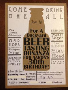 Beer Tasting Birthday Party Invitation on Etsy.