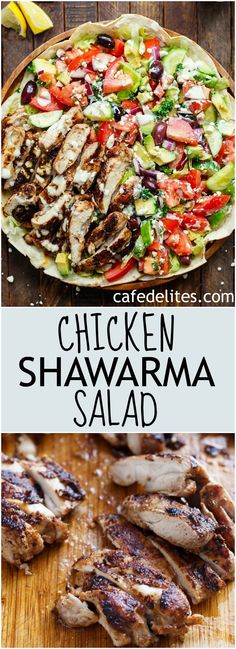 A Chicken Shawarma Salad served on flatbreads, with a 3-ingredient garlic yogurt sauce as a dressing! Easy to make and full of Shawarma flavor! | https://cafedelites.com