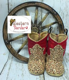 Red/Leopard baby soft Cowboy Boots. Designed and Created by Western Border (alrights copyrighted). For more styles go to www.western-border.com Price $28.00