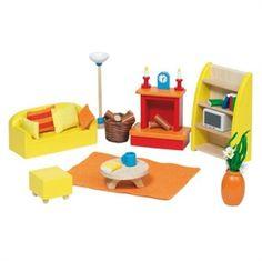 Dollhouse forniture. Si può curare l'arredamento per la casa delle bambole in legno, fin nei più piccoli dettagli. Trovi questo soggiorno completo di divano, caminetto, libreria, lampada a stelo, tavolino e pouf poggiapiedi e di molti altri particolari su http://www.giochiecologici.it/p/780/arredo-soggiorno-per-casa-bambole