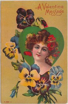 VALENTINE'S DAY Love Holiday Postcard 1909 WOMAN Flowers Message 343