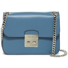 MICHAEL Michael Kors Sloan Medium Leather Shoulder Bag (2.399.360 IDR) ❤ liked on Polyvore featuring bags, handbags, shoulder bags, denim, genuine leather purse, genuine leather handbags, real leather purses, shoulder bag purse and blue handbags