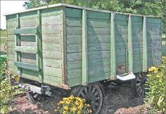 Home-made grain wagon. Little Red Wagon, Old Farm Equipment, Wagon Wheel, Coaches, Farming, Runners, Wheels, Horse, Vintage