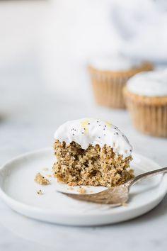 Vegan Lemon Poppy Seed Cupcakes + Coconut Frosting - The Green Life