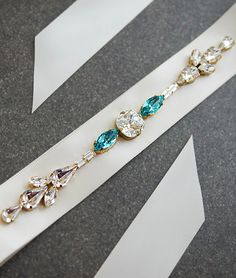 Hand beaded Bridal Sash with Swarovski Crystals from EarringsNation Turquoise Weddings Tiffany Blue Weddings