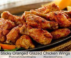 Oh my! Sticky orange glazed chicken wings recipe from #SandersonFarms ...
