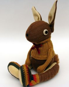 Woollen Rabbit Handmade plush sculpture by skippityhopcreatures, via Etsy.