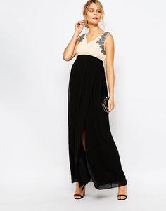 Image 4 ofLittle Mistress Maternity Maxi Dress With Embellished Bodice