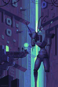 pixel art, cyberpunk, & vintage anime — this is cool as shit Pixel Art Gif, Cool Pixel Art, Pixel Art Games, Cool Art, Game Design, Art Cyberpunk, Piskel Art, Pixel Art Background, Space Opera