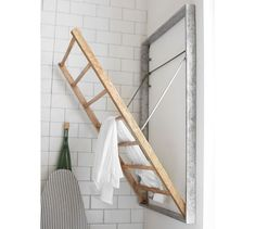 For Laundry Room - Available at Pottery Barn: Galvanized Laundry Drying Rack Laundry Room Drying Rack, Drying Rack Laundry, Clothes Drying Racks, Laundry Room Organization, Laundry Storage, Laundry Room Shelving, Laundry Hanging Rack, Hanging Clothes, Clothes Storage